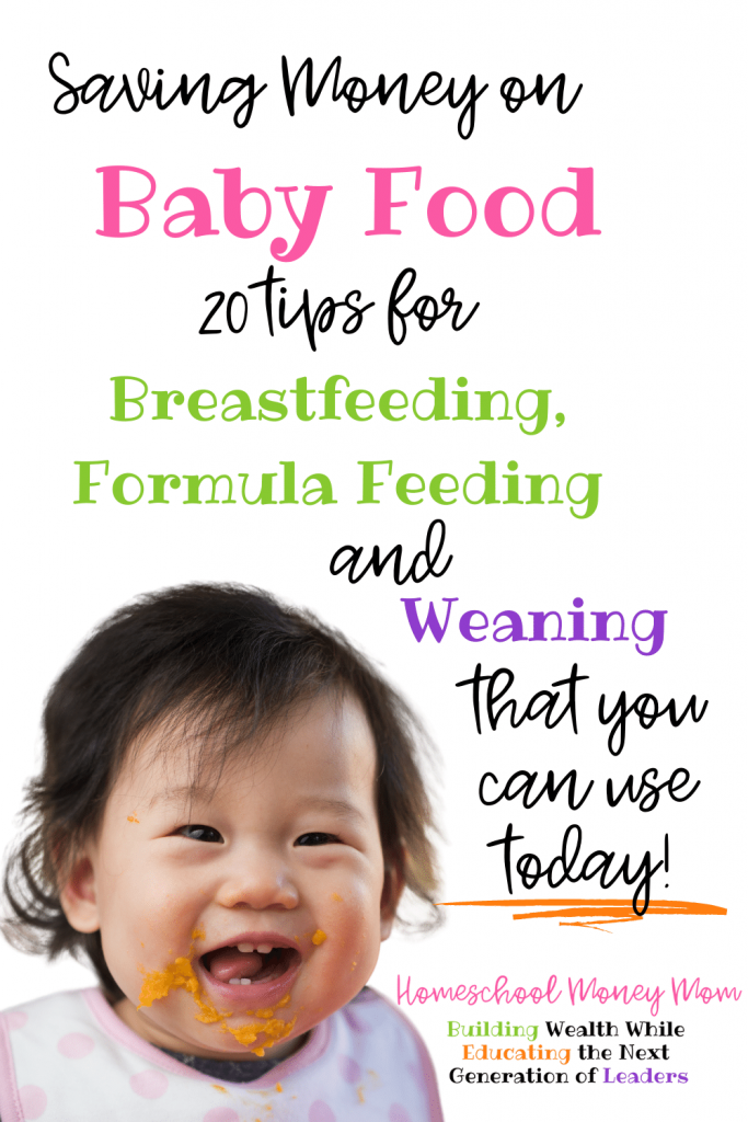 saving money on baby food in rainbow text with a smiling asian baby covered in orange puree wearing a pink and white bib