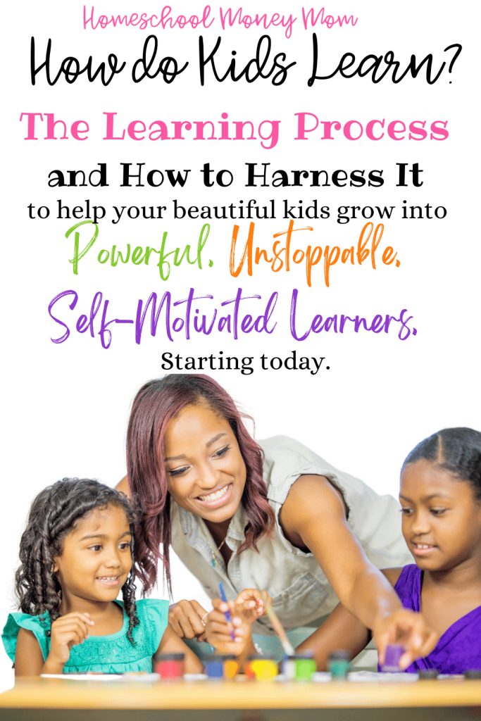 how do kids learn? pinterest image of a black mother painting with 2 small girls