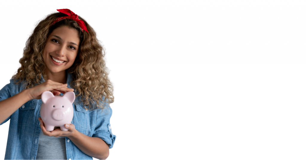 types of family bank accounts image of woman with blond curly hair in a blue shirt holding a pig shaped coin bank